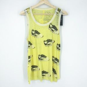 Chaser Racerback Sneaker Tank Top Yellow Small NWT